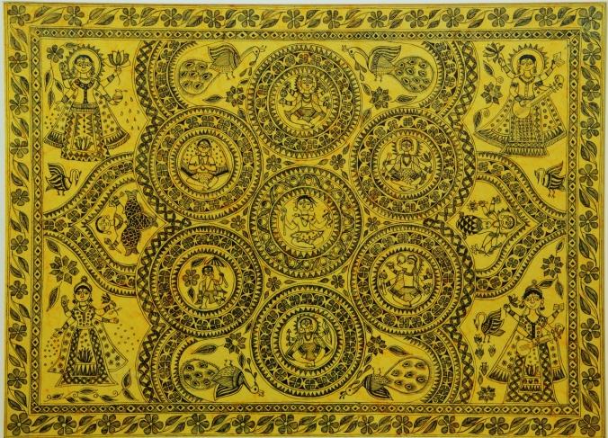 A traditional madhubani painting depicting ten incarnations of God Vishnu