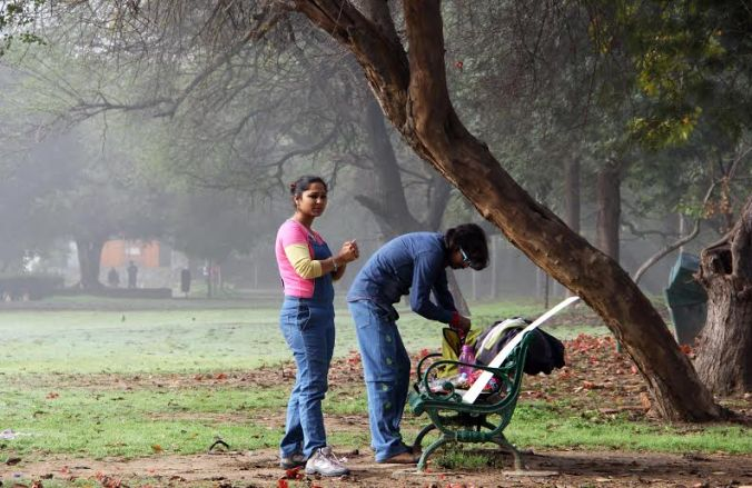 In a foggy morning in Deer park, Delhi.
