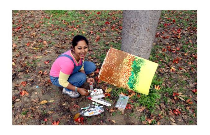 Meenakshi feels happy when she is painting