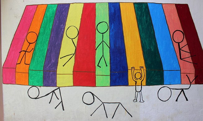 The idea proposed by Meenakshi an executed by teachers. the human figures by Meenakshi
