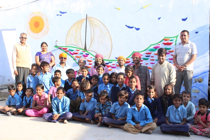Sailing in Desert: Artologue Project- A traveling community art work, 10x15 feet wall, a village school in Rajasthan, 2014