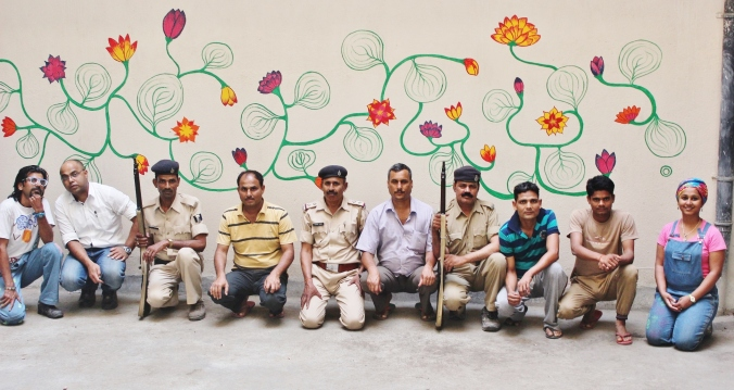 Blooming Wisdom : Artologue Project-A traveling community art work, 15x10 feet wall, A police station in Nalanda, Bihar, 2015