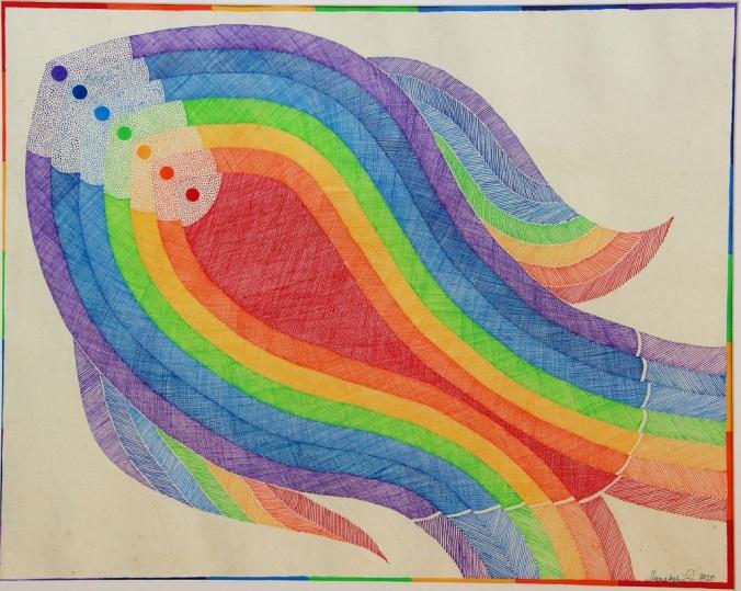 Rainbow : Studio work, 32x25 inches, acrylic on paper, 2010